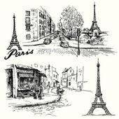 France, Paris - Eiffel tower - hand drawn set — Stock Vector