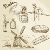 Baker, bakery, bread — Vettoriale Stock