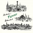 Turkey - hand drawn collection — Cтоковый вектор #67578431