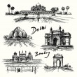 Delhi, Bombay - hand drawn collection — 图库矢量图片 #67578541