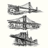 Famous bridges - hand drawn set — Stock Vector