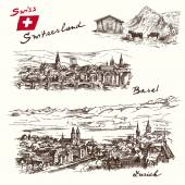 Switzerland - han drawn set — Stock Vector