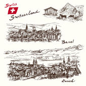 Switzerland - han drawn set — Vecteur