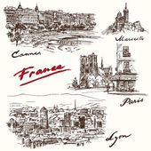 France - hand drawn collection — Stock Vector