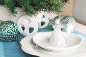 Christmas ans New Year table decoration with Angel — Zdjęcie stockowe
