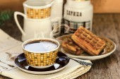 Belgian waffles with coffee — Stock Photo