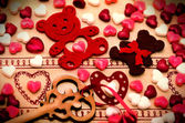Saint Valentine's Day Decoration, bear, heart, key, candy — Foto Stock