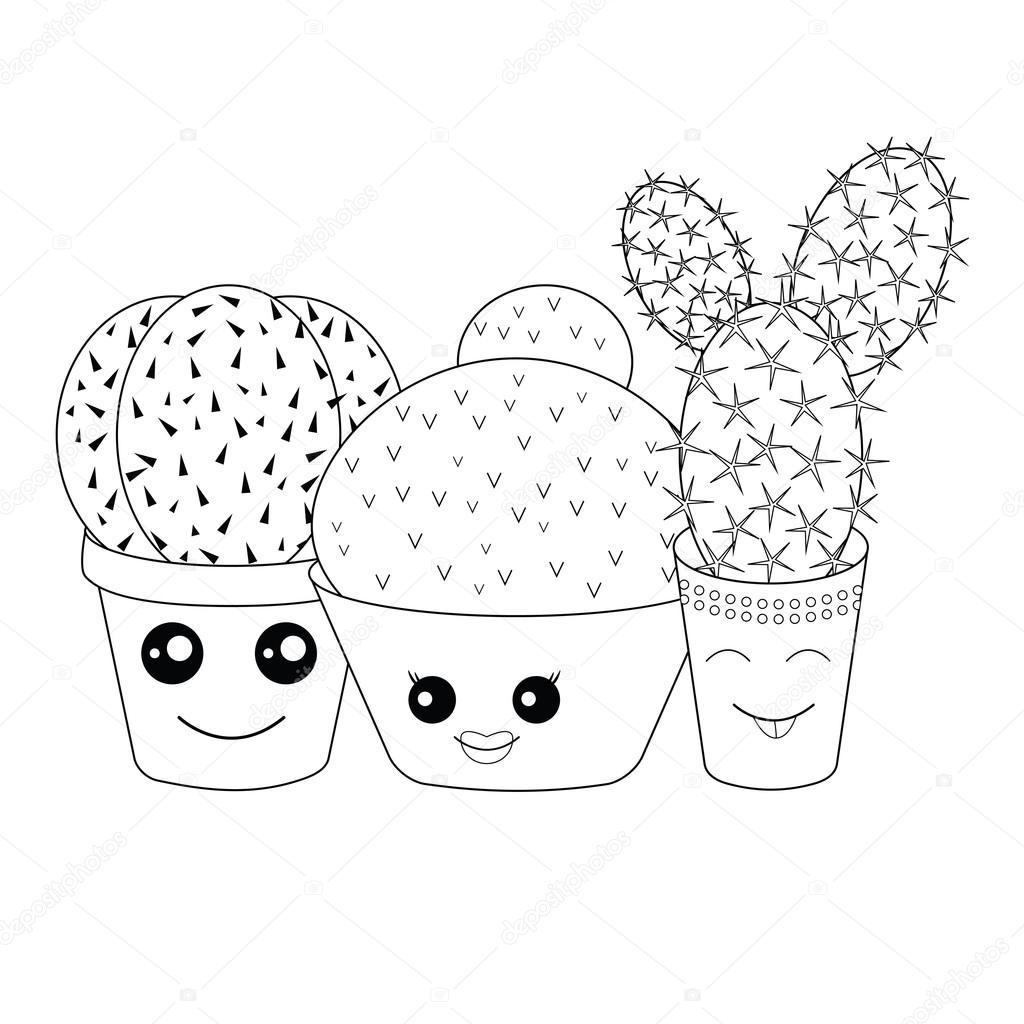 Coloriage avec cactus — Image vectorielle natashapetrova ...