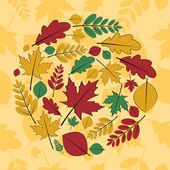 Seamless pattern with different autumn leaves — Stock Vector