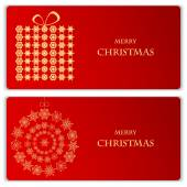 Set of Christmas and New Year banners with snowflakes and a box  — Stock Vector