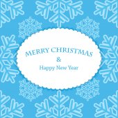 New Year and Christmas snow background with frame for your text — Stock Vector