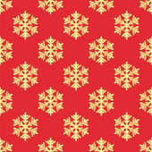 Christmas seamless pattern with gold snowflakes on red backgroun — Stock Vector