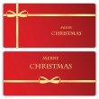 Set of Christmas and New Year banners with gold ribbons — Stock Vector #59156307
