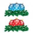 Set of red and blue Christmas balls and Christmas tree isolated — Stock Vector #59156353