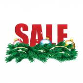Christmas Sale Tags and Christmas tree with decorations  — Vetor de Stock