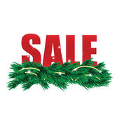 Christmas Sale Tags and Christmas tree with decorations  — Stock Vector
