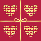 Background with a pattern of hearts and gold ribbon for Valentin — Stock Vector