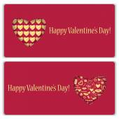 Set of gift cards with gold pattern for Valentine's Day — Stock Vector
