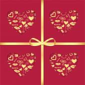 Background with gold pattern and ribbon for Valentine's Day — Stock Vector