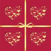Фон с золотым образцом и лентой для дня святого Валентина — Cтоковый вектор