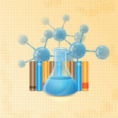 Test tube and molecule and books — Stock Vector