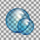 Set of  transparent glass spheres on a plaid background — Stock Vector
