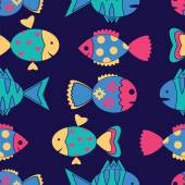 Seamless pattern with colorful fish — Stock vektor