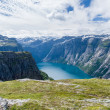 Summer norwegian landscape with mountains and lake valley — Stock Photo #74712949