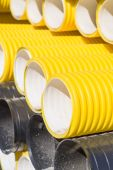Closeup on corrugated PVC pipes — Stock Photo