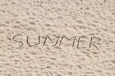 Summer word from conifer cones on sand surface — Stock Photo