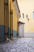 Blur bokeh image of typical european old town street — Stock Photo