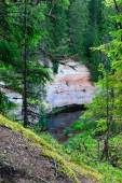View on sandstone outcrops from hillside, Estonia — Stock Photo