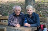 Coppia di anziani seduti su una panchina — Foto Stock