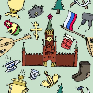 Pattern of Russia hand-drawn icons