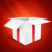 Gift box with bow vector illustration isolated on red background — 图库矢量图片