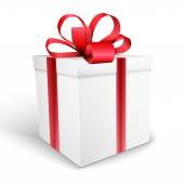 Gift box with bow vector illustration isolated on white backgrou — 图库矢量图片