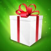 Gift box with bow vector illustration isolated on green — 图库矢量图片