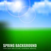 Blurry background spring or summer, blue sky with glaring sun. — Stock Vector