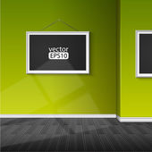 Blank paper frame on green wall — Vector de stock