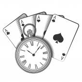 Old pocket watch and playing cards — Stock Vector