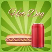 Vintage hotdog poster design — Stock Vector