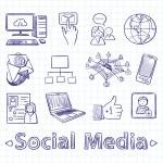 Hand drawn social media icon set — Stock Vector #70630591
