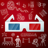 Three D glasses and hand draw cinema icon — Stock Vector