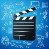 Black cinema clapper and hand draw icon — Stock Vector