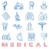Hand draw doodle. Health care and medicine icon set — Stock Vector