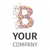 Alphabet particles logotype, Letter-B — Stock Vector