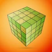Three D cube green — Stock Vector