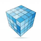 Three D cube blue — Stock Vector
