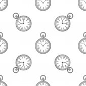 Vector seamless retro pattern, clock — Stock Vector