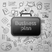 Black briefcase and doodle business icon — Vetor de Stock